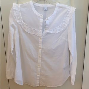White Blouse with Ruffle Details